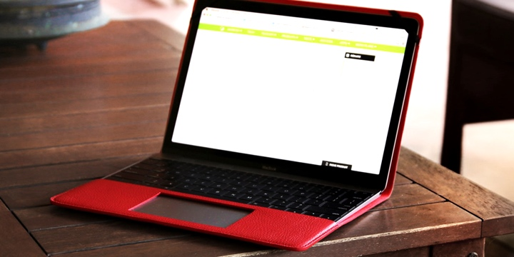 Case for MacBook - Red - Granulated Leather
